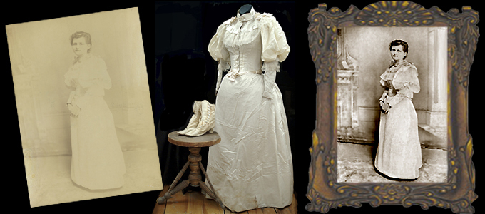1800's Bridal Gown with Shoes and Original Photograph-by Kathryn Rutherford-Heirloom Art Studio