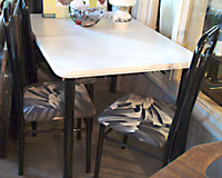 Black and White Dinette Table and Six Chairs For Sale