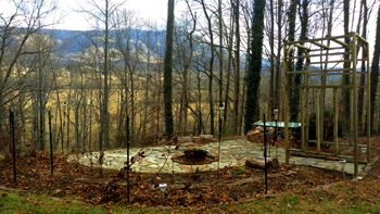 Flagstone Firepit Patio Overlooking Cove Mountain